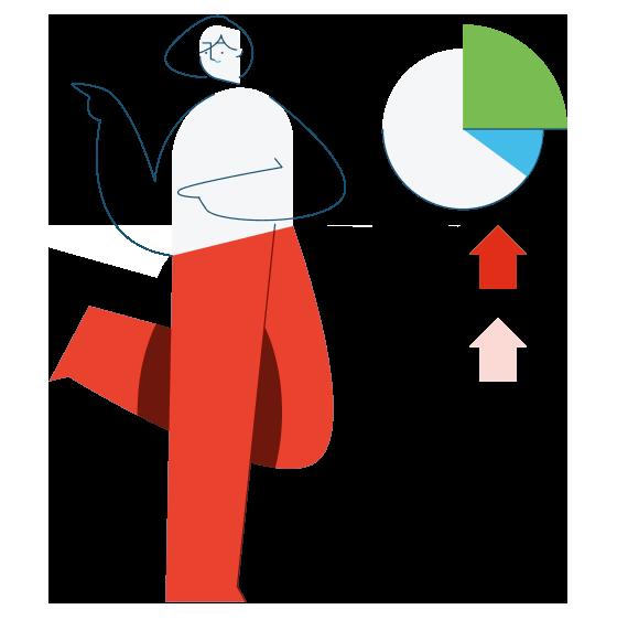 Illustration eines Comic Menschen mit grünem Diagram