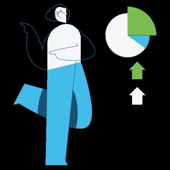 Comic Figur Illustration mit Diagram